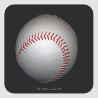 Baseball on black background, close-up square sticker