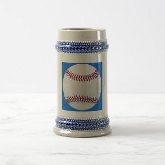 Baseball on blue coffee mugs