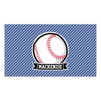 Baseball on Blue & White Stripes Pack Of Standard Business Cards