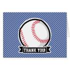 Baseball on Blue & White Stripes Card