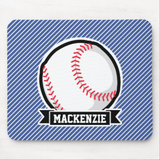 Baseball on Blue & White Stripes Mouse Pads