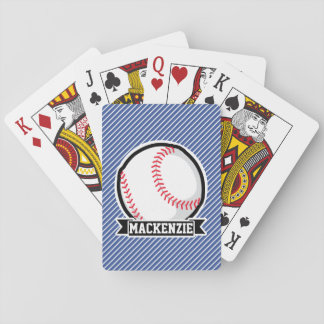 Baseball on Blue & White Stripes Playing Cards