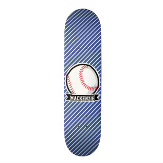 Baseball on Blue & White Stripes Skate Deck