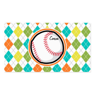 Baseball on Colorful Argyle Pattern Business Card