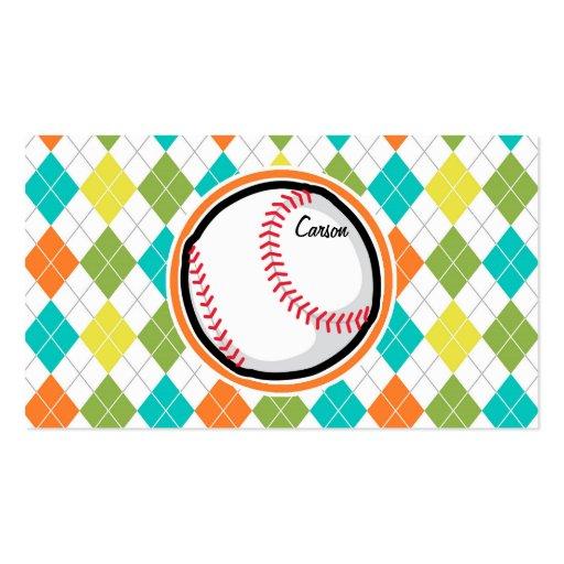 Baseball on Colorful Argyle Pattern Business Card
