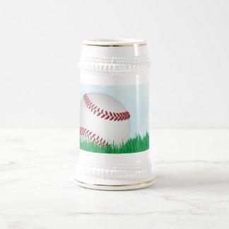 baseball on grass coffee mugs