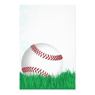 baseball on grass stationery