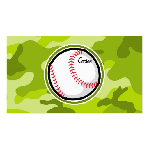 Baseball on Green Camo, Camouflage Business Cards