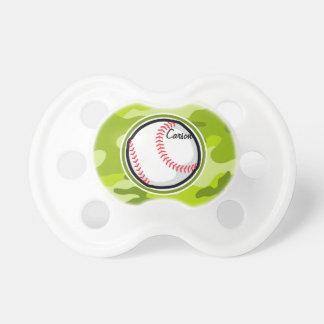 Baseball on Green Camo Camouflage Pacifier
