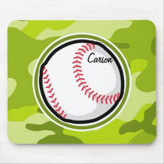 Baseball on Green Camo Camouflage Mousepads