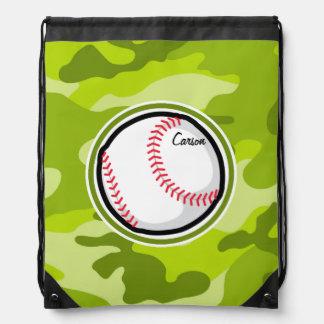 Baseball on Green Camo Camouflage Drawstring Bags