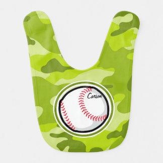 Baseball on Green Camo Camouflage Baby Bibs