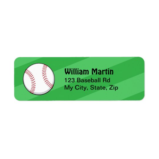 Baseball on green field return address labels