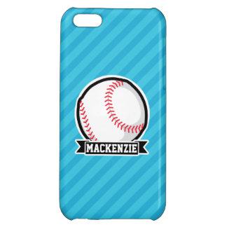 Baseball on Sky Blue Stripes iPhone 5C Covers