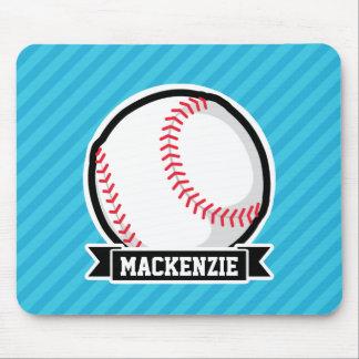 Baseball on Sky Blue Stripes Mousepads