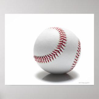Baseball on white background poster
