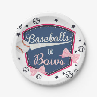Baseball or bows Gender Reveal 7 Inch Paper Plate