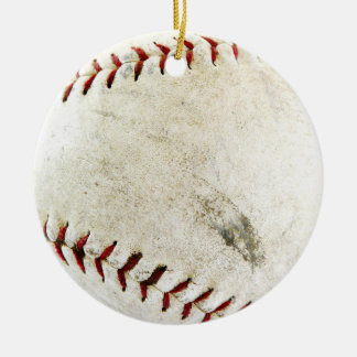 Baseball or Softball - Dirty and well loved! Round Ceramic Decoration