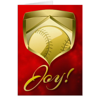 Baseball or Softball Gold Shield with Word Joy Card