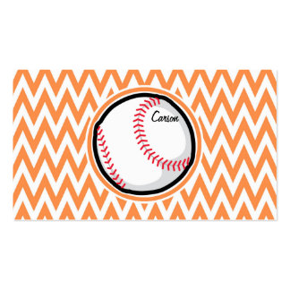 Baseball; Orange and White Chevron Double-Sided Standard Business Cards (Pack Of 100)