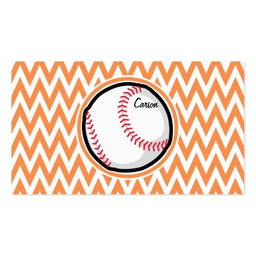 Baseball; Orange and White Chevron Business Cards