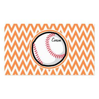 Baseball Orange and White Chevron Business Cards