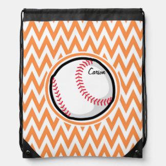 Baseball Orange and White Chevron Drawstring Bags