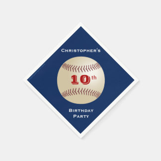 Baseball Paper Napkins, 10th Birthday Party Disposable Serviette