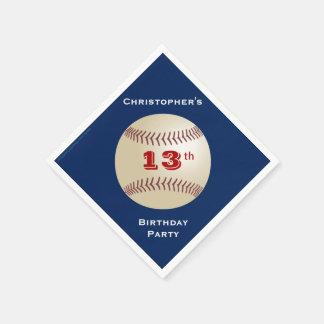 Baseball Paper Napkins, 13th Birthday Party Paper Napkins