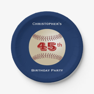Baseball Paper Plates, 45th Birthday Party 7 Inch Paper Plate