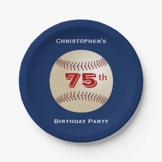 Baseball Paper Plates, 75th Birthday Party Paper Plate