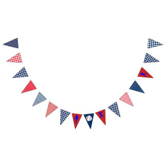 Baseball Party Blue Red Bunting Flag