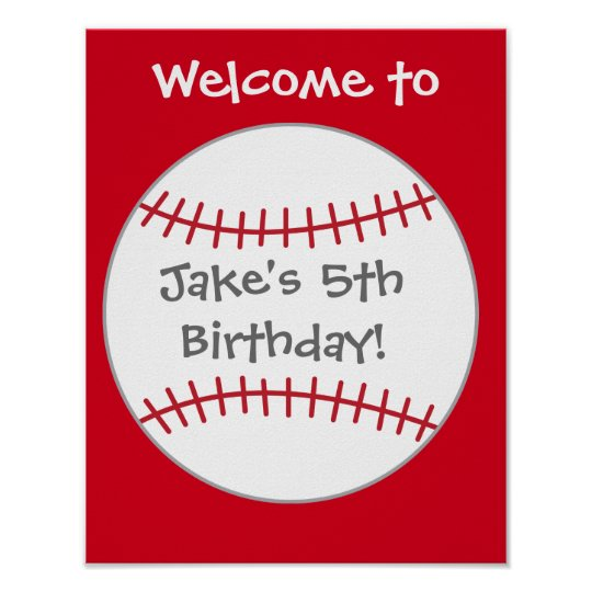 Baseball Party Decor- Birthday Welcome Sign Poster