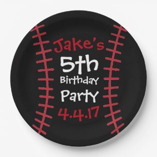 Baseball Party Plates- Birthday Party Decor 9 Inch Paper Plate