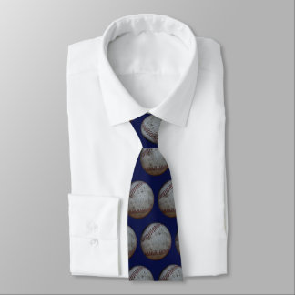 Baseball Pattern On Navy Blue Tie
