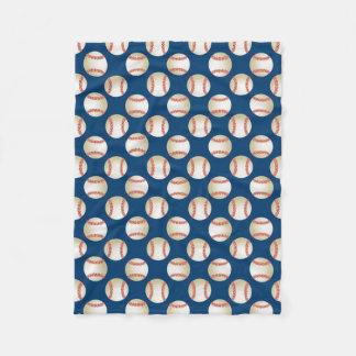 Baseball Pattern Royal Blue Sport Theme Fleece Blanket