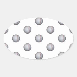 Baseball Pattern Oval Sticker