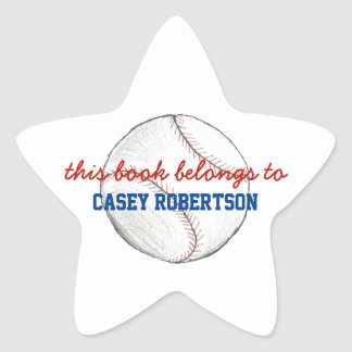 Baseball personalized bookplates for kids - star star sticker