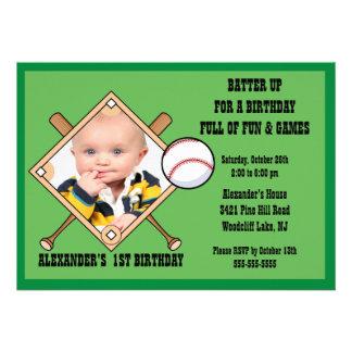 Baseball PHOTO Birthday Invitation