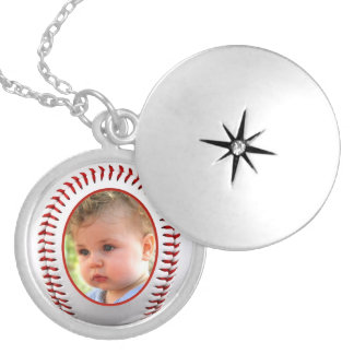 Baseball Photo Frame Template Silver Plated Necklace