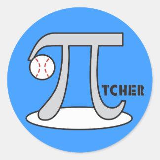 Baseball Pi-tcher - Funny Pi Day Gift Round Sticker