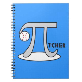 Baseball Pi-tcher - Funny Pi Spiral Notebooks