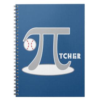 Baseball Pi-tcher - Funny Pi Spiral Notebook