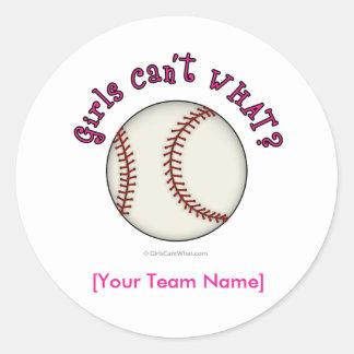 Baseball-Pink Round Sticker