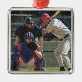 Baseball pitcher, batter and umpire in ready christmas ornament