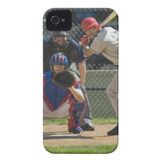 Baseball pitcher, batter and umpire in ready iPhone 4 Case-Mate case