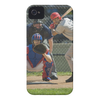 Baseball pitcher, batter and umpire in ready iPhone 4 Case-Mate cases