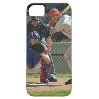 Baseball pitcher, batter and umpire in ready iPhone 5 case