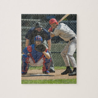 Baseball pitcher, batter and umpire in ready jigsaw puzzle