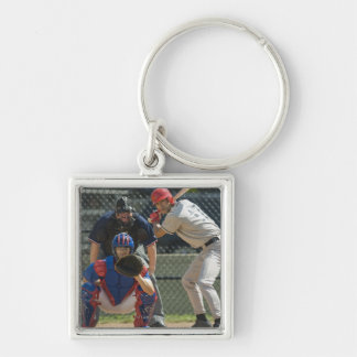 Baseball pitcher, batter and umpire in ready key ring